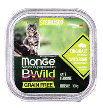 Monge Cat BWild Grain Free Sterilised Wild Boar Pate / Влажный Беззерновой корм Монж для Стерилизованных кошек Паштет из Кабана с овощами (цена за упаковку)