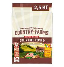 Country Farms Dog Adult Small Breed Grain free recipe Turkey / Сухой Беззерновой полнорационный корм Кантри Фармз для взрослых собак Мелких пород с высоким содержанием Индейки