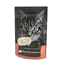 Tasty / Паучи Тейсти для кошек Вкусная Говядина в желе (цена за упаковку)