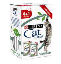 Purina Cat Chow Sterilised / Паучи для Стерилизованных кошек с Курицей и баклажанами в соусе и с Ягненком и зеленой фасолью Цена за упаковку