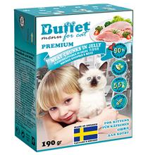 Buffet Premium / Влажный корм Бафет для Котят Мясные кусочки в желе с Индейкой (цена за упаковку)