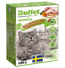 Buffet Premium / Влажный корм Бафет для взрослых кошек всех пород Мясные кусочки в желе с Домашней птицей (цена за упаковку)