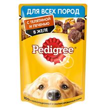 Pedigree / Паучи Педигри для взрослых собак всех пород с Телятиной и Печенью в желе (цена за упаковку)