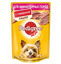 Pedigree / Паучи Педигри для взрослых собак Миниатюрных пород паштет Говядина (цена за упаковку)