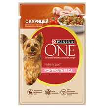 Purina One Dog Мини Контроль веса / Паучи Пурина Уан для собак Мелких пород Курица Коричневый Рис и Томаты (цена за упаковку)