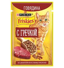 Friskies / Паучи Фрискис для кошек Говядина с Гречкой (цена за упаковку)