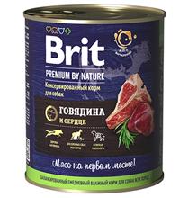 Brit Premium by Nature / Консервы Брит для собак всех пород Говядина и сердце (цена за упаковку)