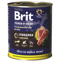 Brit Premium by Nature / Консервы Брит для собак всех пород Говядина с пшеном (цена за упаковку)