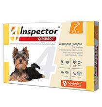 Inspector Quadro С / Капли Инспектор от Внешних и Внутренних паразитов для собак весом от 1 до 4 кг