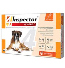Inspector Quadro С / Капли Инспектор от Внешних и Внутренних паразитов для собак весом от 25 до 40 кг