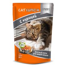 Cat Lunch / Паучи Кэт Ланч для кошек кусочки в желе с Курицей (цена за упаковку)