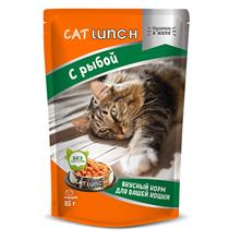 Cat Lunch / Паучи Кэт Ланч для кошек кусочки в желе с Рыбой (цена за упаковку)