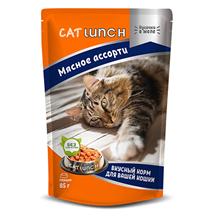Cat Lunch / Паучи Кэт Ланч для кошек кусочки в желе Мясное ассорти (цена за упаковку)