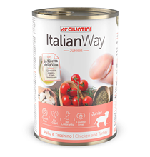 Italian Way Junior Gluten Free Pollo e tacchino / Консервы Италиан Вей для Щенков Мясное ассорти Томат рис (цена за упаковку)