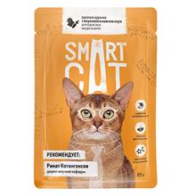 Smart Cat / Паучи Смарт Кэт для Котят и взрослых кошек Курочка с морковью в нежном соусе (цена за упаковку)