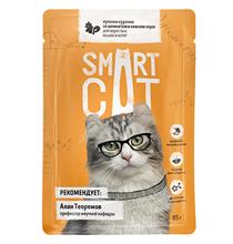 Smart Cat / Паучи Смарт Кэт для Котят и взрослых кошек Курочка со шпинатом в нежном соусе (цена за упаковку)