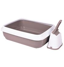 IMAC Duo / Туалет-лоток Аймак для кошек с совочком на подставке Серо-бежевый
