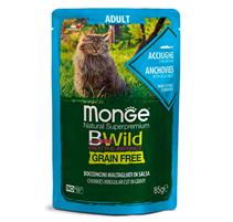 Monge Cat BWild Grain Free Adult Anchovies Vegetables / Влажный Беззерновой корм Монж для взрослых кошек Паучи из Анчоусов с овощами (цена за упаковку)
