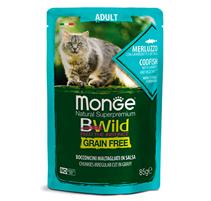 Monge Cat BWild Grain Free Adult Codfish Shrimps Vegetables / Влажный Беззерновой корм Монж для взрослых кошек Паучи из Трески с Креветками и овощами (цена за упаковку)