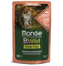 Monge Cat BWild Grain Free Sterilised Salmon Shrimps Vegetables / Влажный Беззерновой корм Монж для Стерилизованных кошек Паучи из Лосося с Креветками и овощами (цена за упаковку)