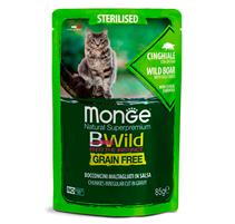 Monge Cat BWild Grain Free Sterilised Wild Boar Vegetables / Влажный Беззерновой корм Монж для Стерилизованных кошек Паучи из мяса Дикого Кабана с овощами (цена за упаковку)
