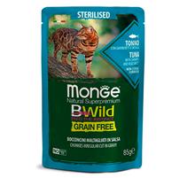 Monge Cat BWild Grain Free Sterilised Tuna Shrimps Vegetables / Влажный Беззерновой корм Монж для Стерилизованных кошек Паучи из Тунца с Креветками и овощами (цена за упаковку)