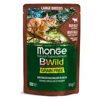 Monge Cat BWild Grain Free Large Breeds Buffalo Vegetables / Влажный Беззерновой корм Монж для кошек Крупных пород Паучи из мяса Буйвола с овощами (цена за упаковку)