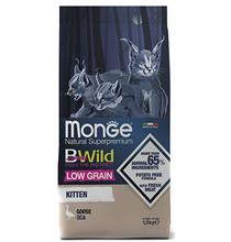 Monge Kitten BWild Low Grain Goose / Сухой Низкозерновой корм Монж Бивайлд для Котят мясо Гуся