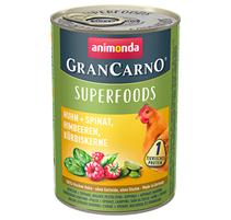 Animonda GranCarno Superfoods Huhn + Spinat / Консервы Анимонда для взрослых собак с Курицей + шпинат малина тыквенные семечки (цена за упаковку)