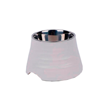 SuperDesign Ripple Elevated Dog Bowl White / Миска Супер Дизайн для собак Меламиновая Белая