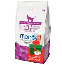Monge Cat Adult Chicken / Сухой корм Монж для Взрослых кошек Курица + крем-лакомство Мнямс с Курицей в подарок