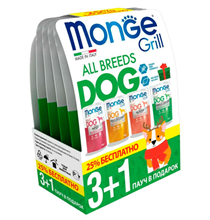 Monge Dog Grill / Новогодний набор влажного корма Паучей Монж Гриль для взрослых собак Ассорти 4 вкуса (цена за упаковку)
