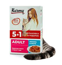 Karmy Adult / Паучи Карми для взрослых кошек Лосось в желе (цена за упаковку)