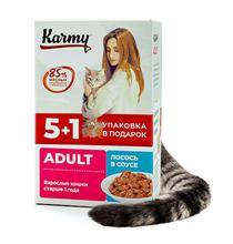Karmy Adult / Паучи Карми для взрослых кошек Лосось в соусе (цена за упаковку)