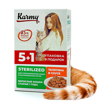 Karmy Sterilized / Паучи Карми для взрослых кошек Телятина в соусе (цена за упаковку)