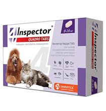 Inspector Quadro Tabs / Таблетки Инспектор от Внешних и Внутренних паразитов для кошек и собак весом весом от 8 до 16 кг