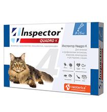 Inspector Quadro К / Капли Инспектор от Внешних и Внутренних паразитов для кошек весом от 8 до 15 кг