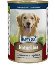 Happy Dog NaturLine / Консервы Хэппи Дог для собак Телятина с Сердцем (цена за упаковку, Россия)
