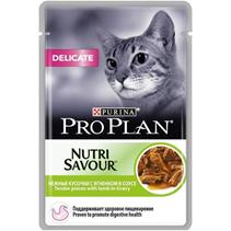 Purina Pro Plan Cat NutriSavour Delicate Lamb / Паучи Пурина Про План для взрослых кошек c Чувствительным пищеварением Ягненок в соусе (цена за упаковку)