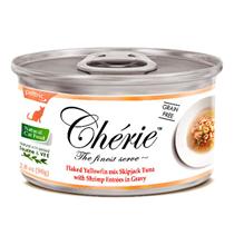 Pettric Cherie Grain free Flaked Yellowfin mix Longtail Tuna & Shrimp Entrees in gravy / Беззерновые консервы Петрик для кошек Тунец с креветками в подливе (цена за упаковку)