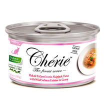 Pettric Cherie Grain free Flaked Yellowfin mix Longtail Tuna & Wild Salmon Entrees in gravy / Беззерновые консервы Петрик для кошек Тунец с лососем в подливе (цена за упаковку)