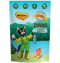 Мнямс Влажный корм Паучи для кошек Рыбный фестиваль Лосось Креветки Форель (цена за упаковку)