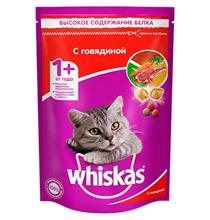 Whiskas / Сухой корм Вискас для взрослых кошек подушечки-паштет с Говядиной