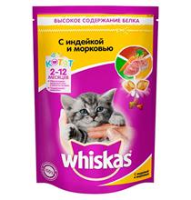 Whiskas Kitten / Сухой корм Вискас Молочные подушечки-паштет для котят Индейка-Морковь