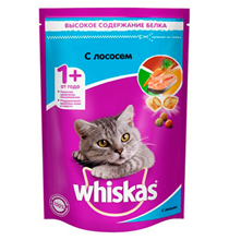 Whiskas / Сухой корм Вискас для взрослых кошек подушечки-паштет с Лососем