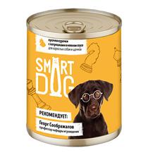 Smart Dog / Консервы Смарт Дог для взрослых собак и щенков Кусочки Курочки с потрошками в нежном соусе (цена за упаковку)