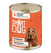 Smart Dog / Консервы Смарт Дог для взрослых собак и щенков Кусочки Индейки в нежном соусе (цена за упаковку)