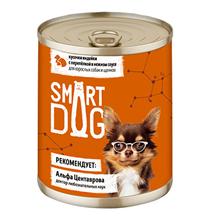 Smart Dog / Консервы Смарт Дог для взрослых собак и щенков Кусочки Индейки с перепелкой в нежном соусе (цена за упаковку)