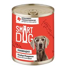 Smart Dog / Консервы Смарт Дог для взрослых собак и щенков Кусочки Говядины с морковью в нежном соусе (цена за упаковку)