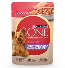 Purina One Dog Мини Чувствительное Пищеварение / Паучи Пурина Уан для собак Мелких пород Лосось рис морковь (цена за упаковку)